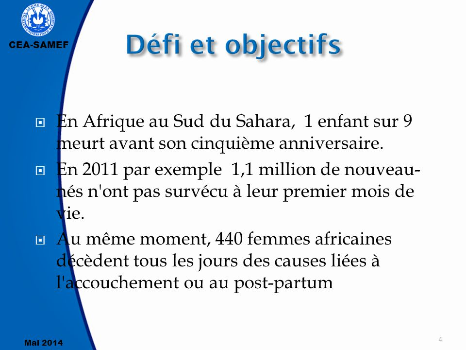 Défi et objectifs En Afrique au Sud du Sahara, 1 enfant sur 9 meurt avant son cinquième anniversaire.