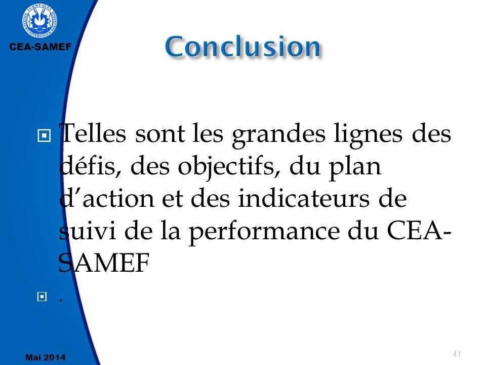 Conclusion Telles sont les grandes lignes des défis, des objectifs, du plan d'action et des indicateurs de suivi de la performance du CEA-SAMEF.
