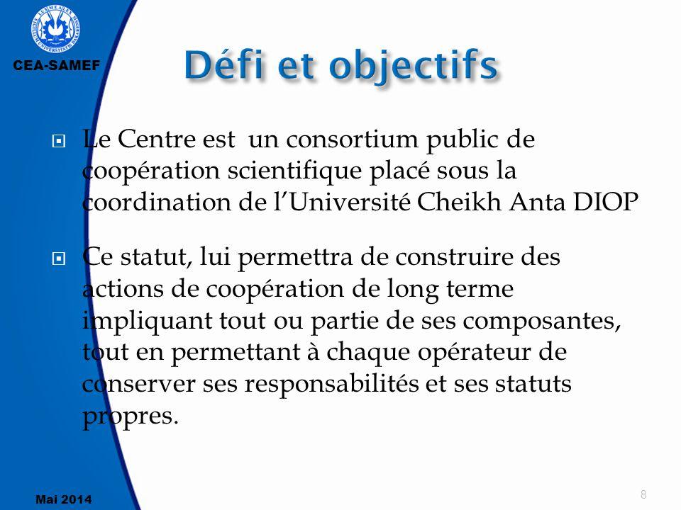 Défi et objectifs Le Centre est un consortium public de coopération scientifique placé sous la coordination de l'Université Cheikh Anta DIOP.