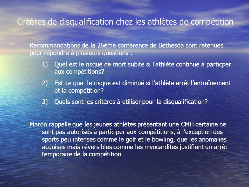 Critères de disqualification chez les athlètes de compétition