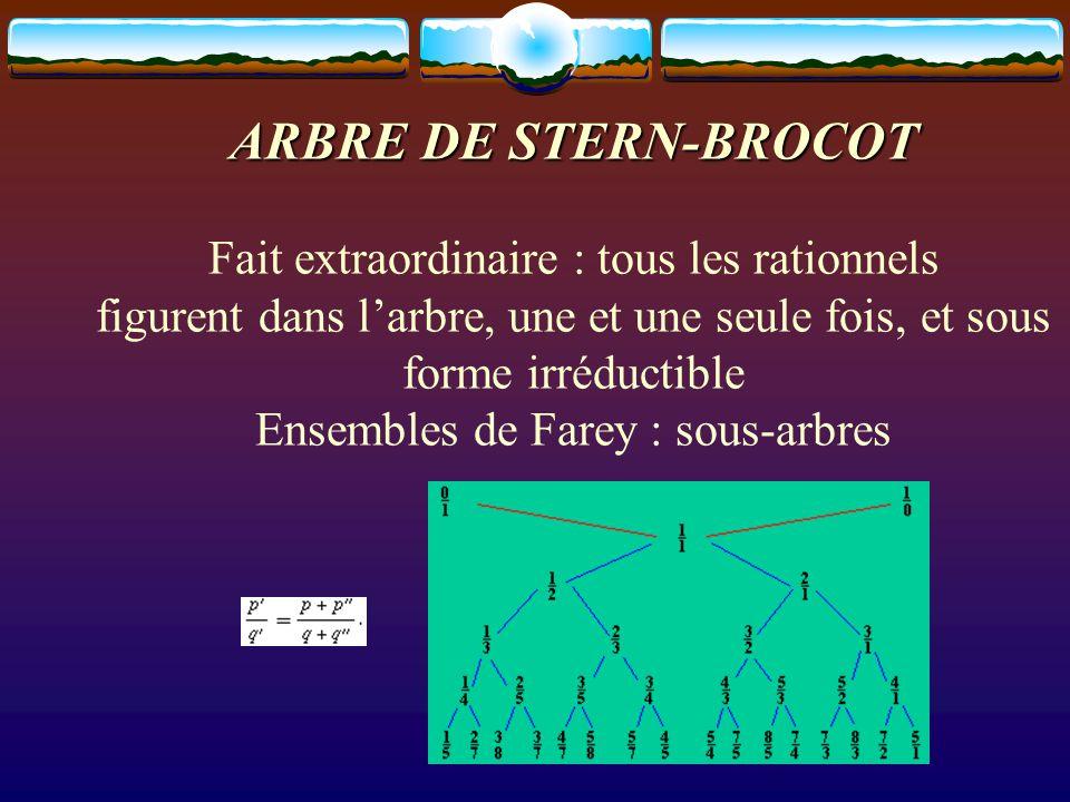ARBRE DE STERN-BROCOT ARBRE DE STERN-BROCOT Fait extraordinaire : tous les rationnels figurent dans l'arbre, une et une seule fois, et sous forme irréductible Ensembles de Farey : sous-arbres