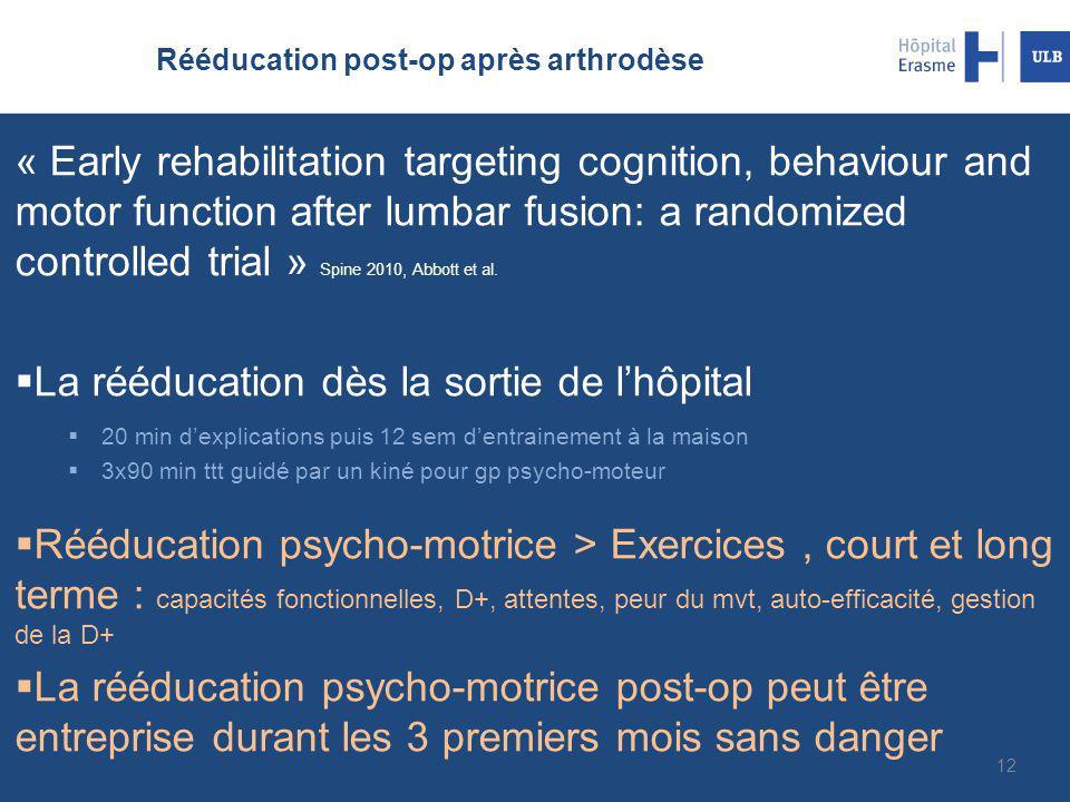 Rééducation post-op après arthrodèse