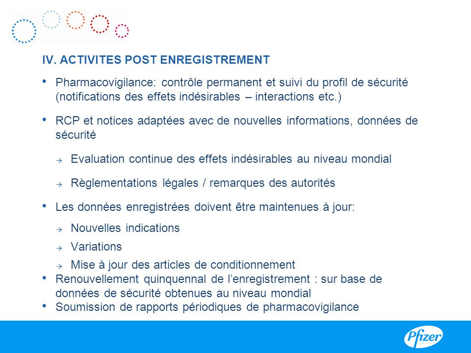 IV. ACTIVITES POST ENREGISTREMENT