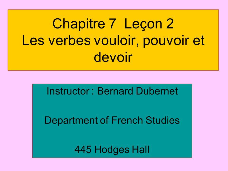 Chapitre 7 Leçon 2 Les verbes vouloir, pouvoir et devoir