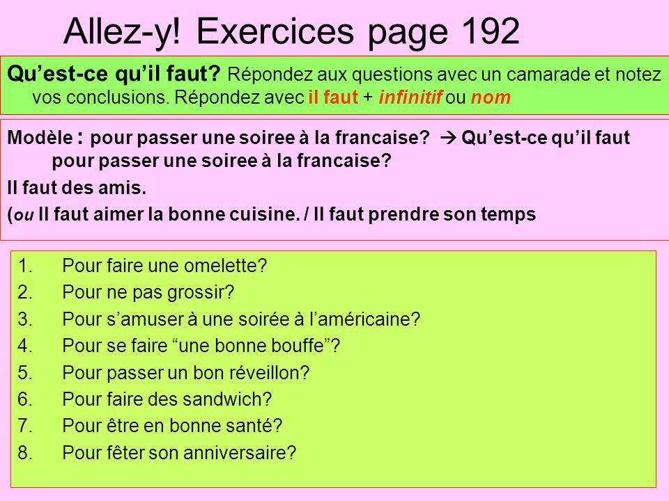 Allez-y! Exercices page 192