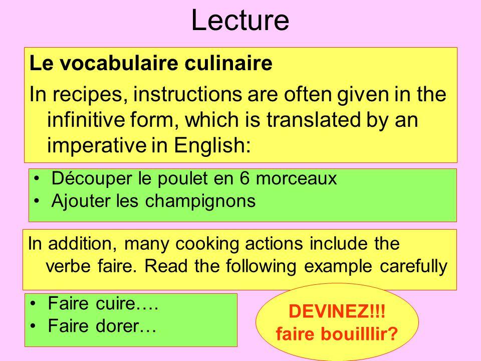 Lecture Le vocabulaire culinaire