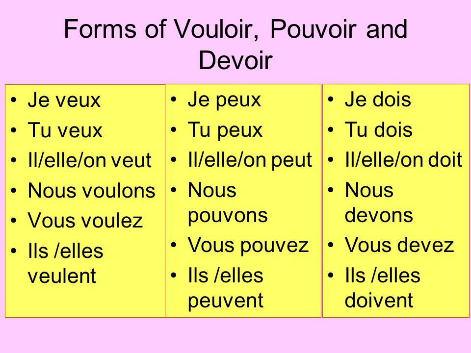 Forms of Vouloir, Pouvoir and Devoir