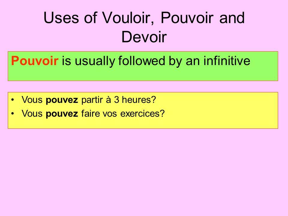 Uses of Vouloir, Pouvoir and Devoir