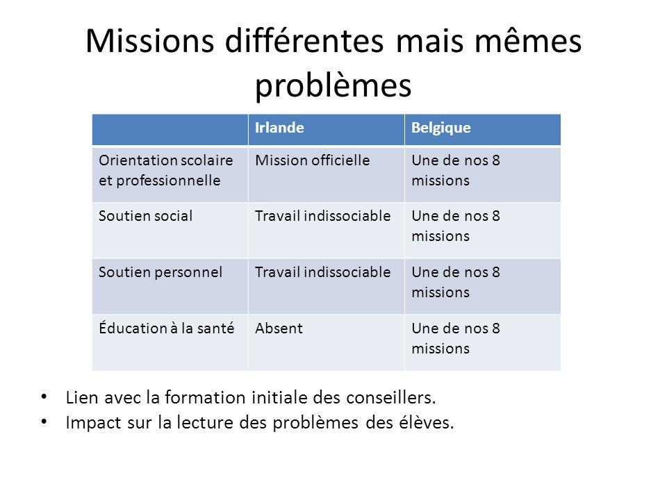 Missions différentes mais mêmes problèmes
