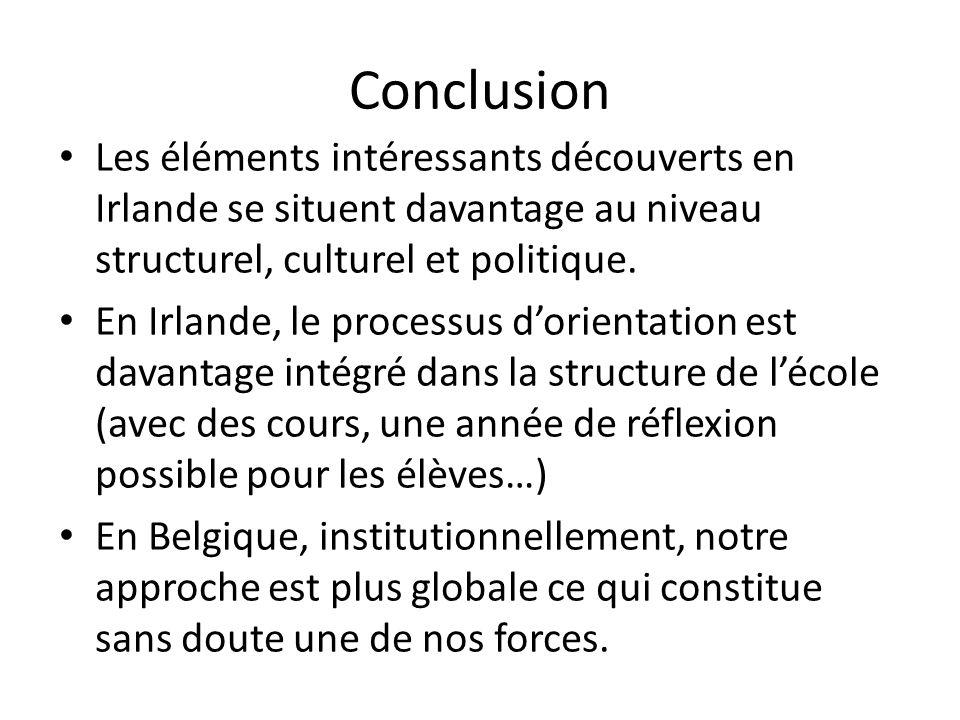 Conclusion Les éléments intéressants découverts en Irlande se situent davantage au niveau structurel, culturel et politique.