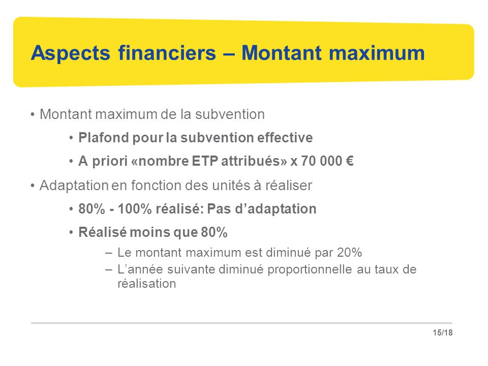Aspects financiers – Montant maximum