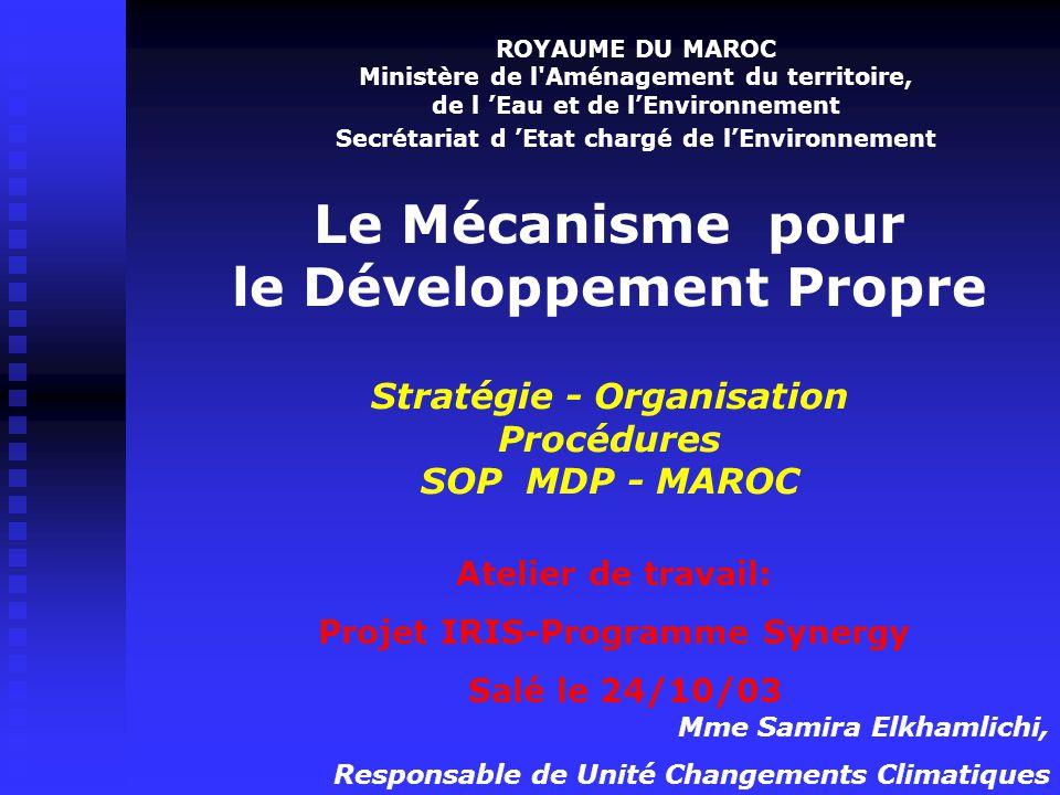 ROYAUME DU MAROC Ministère de l Aménagement du territoire, de l 'Eau et de l'Environnement. Secrétariat d 'Etat chargé de l'Environnement.
