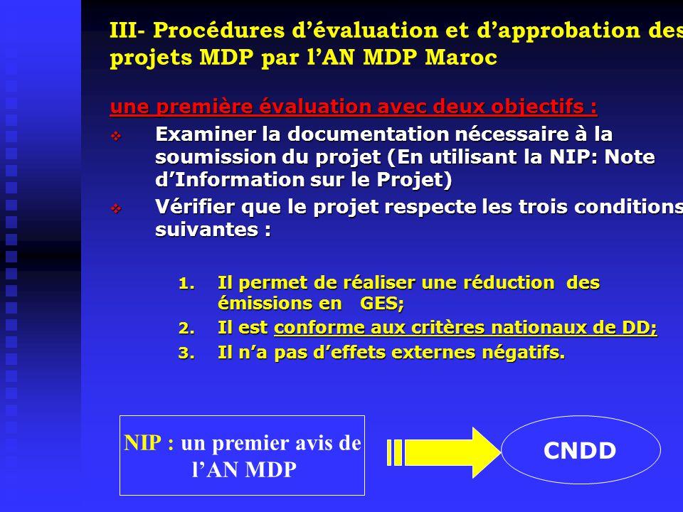 III- Procédures d'évaluation et d'approbation des projets MDP par l'AN MDP Maroc