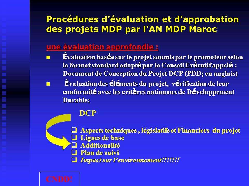 Procédures d'évaluation et d'approbation des projets MDP par l'AN MDP Maroc