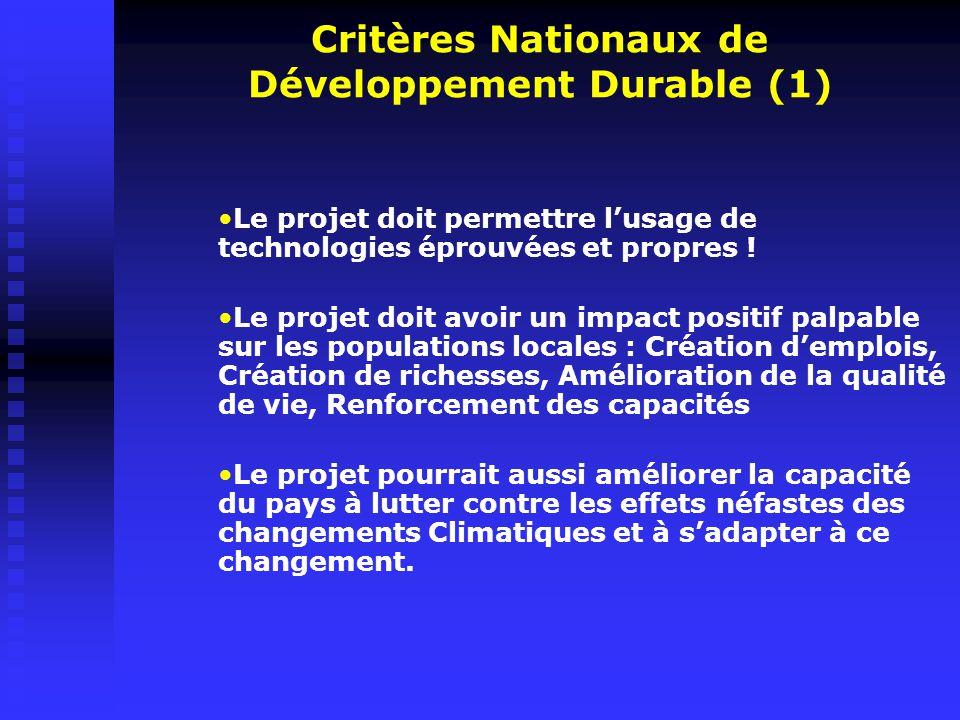 Critères Nationaux de Développement Durable (1)