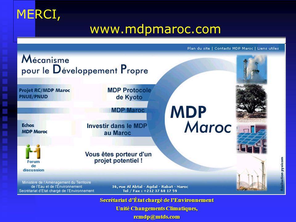 MERCI, www.mdpmaroc.com Secrétariat d'État chargé de l'Environnement