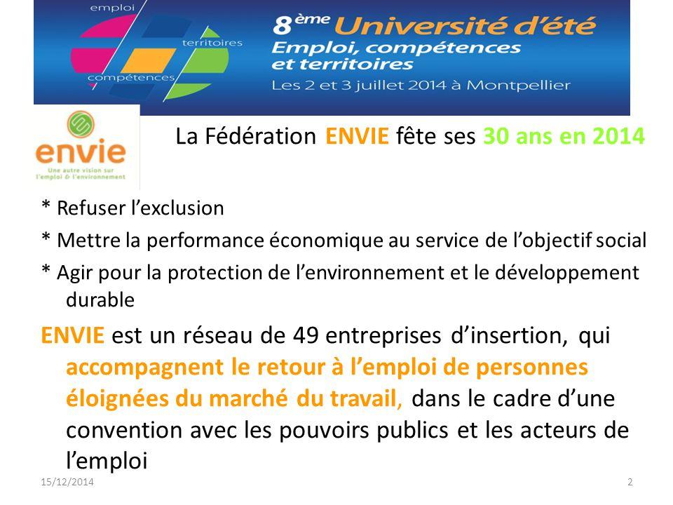 La Fédération ENVIE fête ses 30 ans en 2014