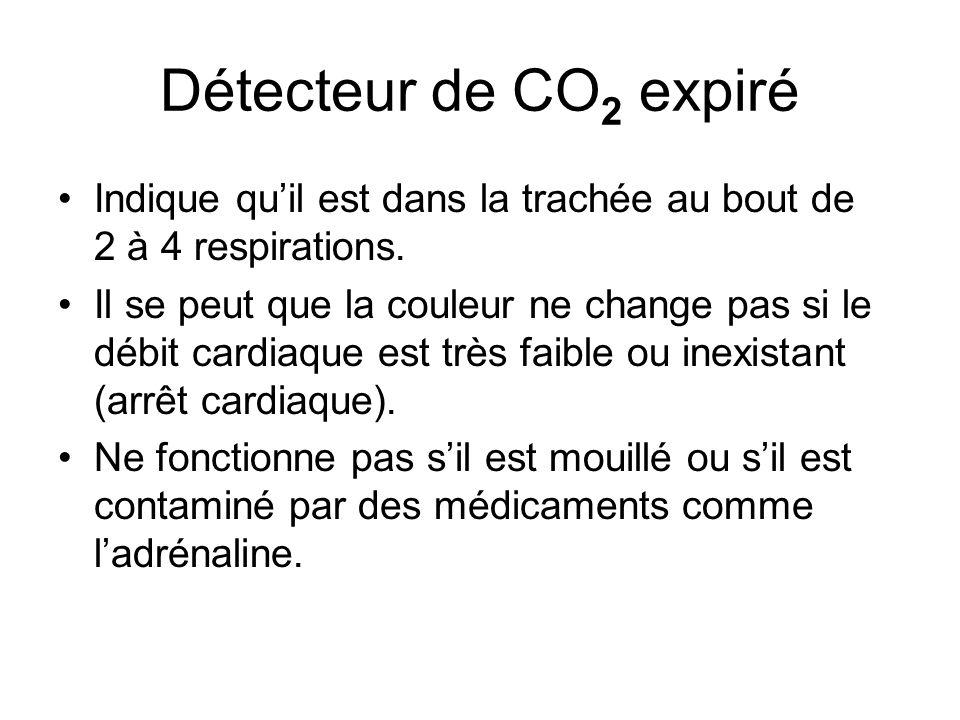 Détecteur de CO2 expiré Indique qu'il est dans la trachée au bout de 2 à 4 respirations.