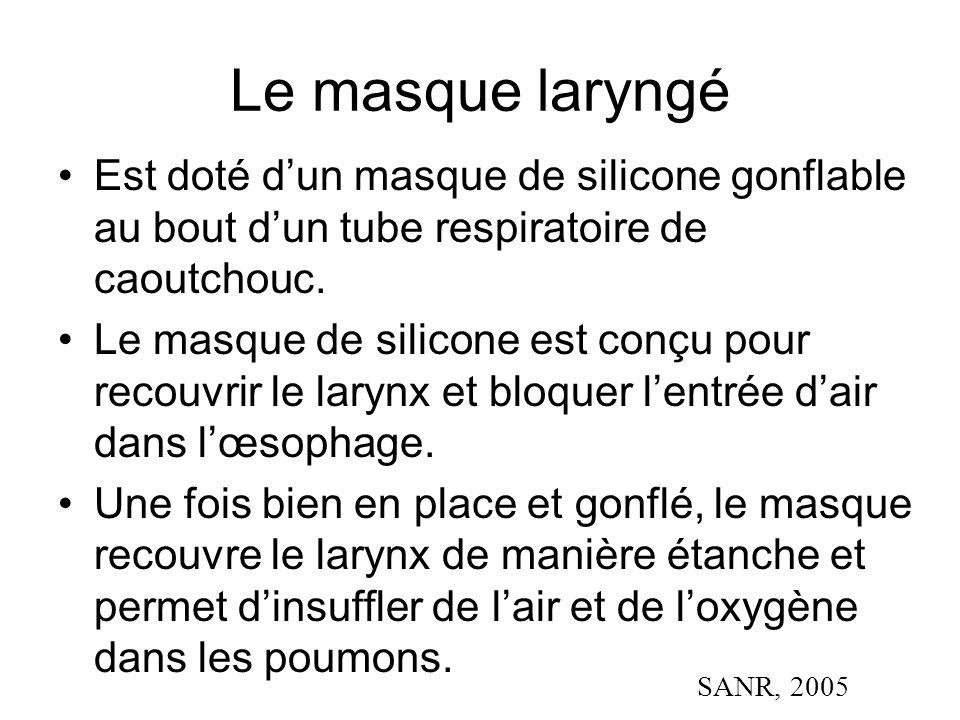 Le masque laryngé Est doté d'un masque de silicone gonflable au bout d'un tube respiratoire de caoutchouc.