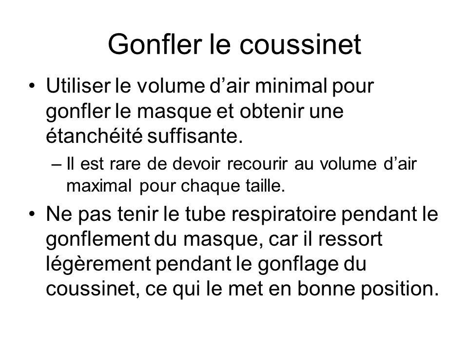 Gonfler le coussinet Utiliser le volume d'air minimal pour gonfler le masque et obtenir une étanchéité suffisante.