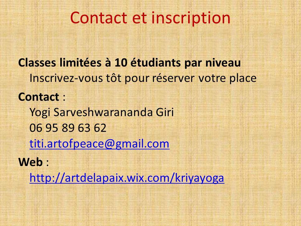 Contact et inscription
