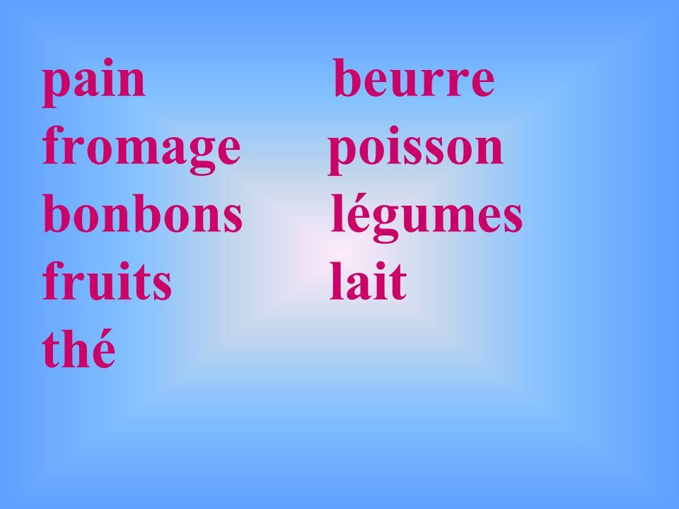 pain beurre fromage poisson bonbons légumes fruits lait thé