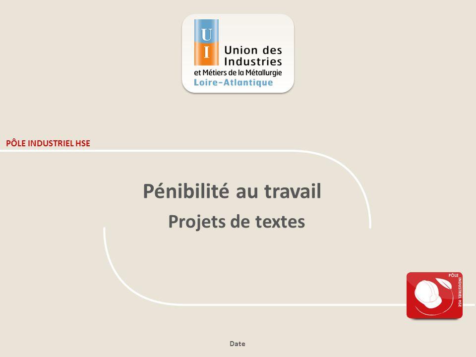 PÔLE INDUSTRIEL HSE Pénibilité au travail Projets de textes Date