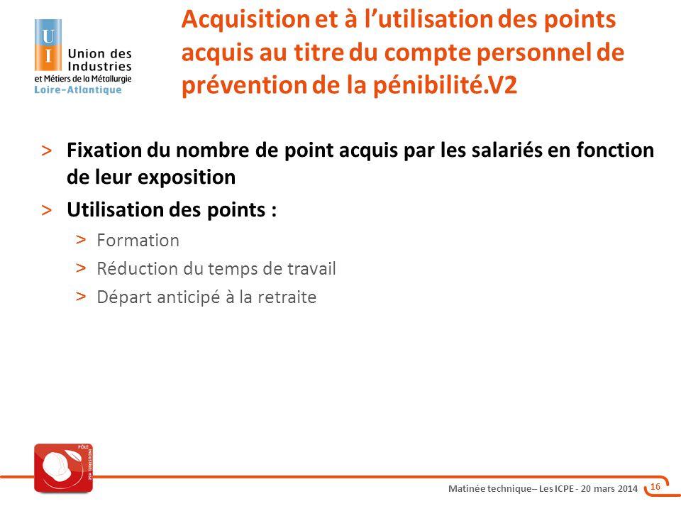 Acquisition et à l'utilisation des points acquis au titre du compte personnel de prévention de la pénibilité.V2
