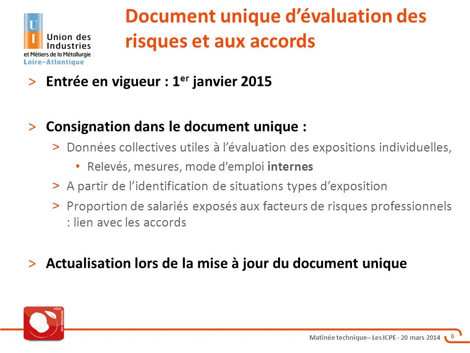 Document unique d'évaluation des risques et aux accords