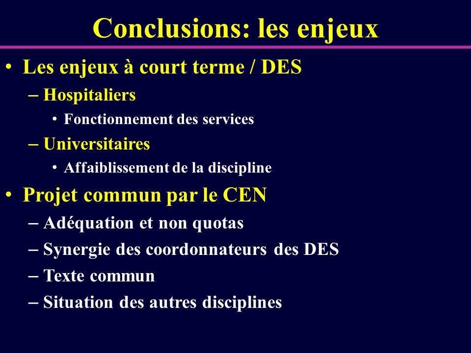 Conclusions: les enjeux