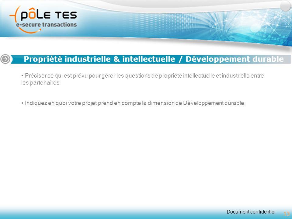 Propriété industrielle & intellectuelle / Développement durable