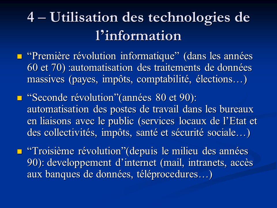 4 – Utilisation des technologies de l'information