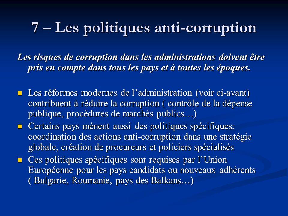 7 – Les politiques anti-corruption