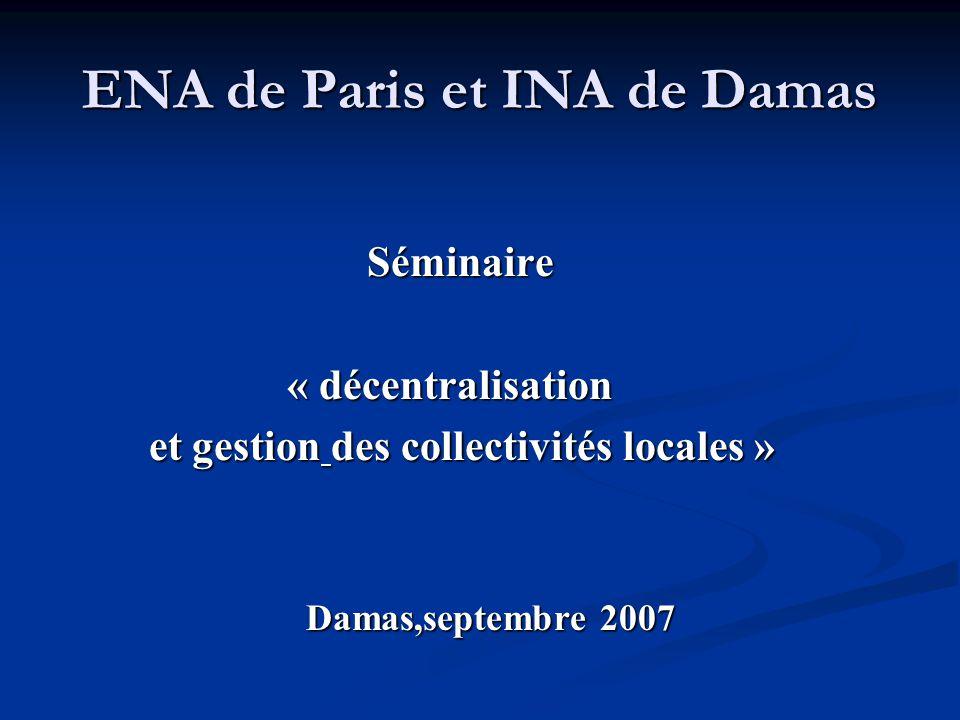 ENA de Paris et INA de Damas