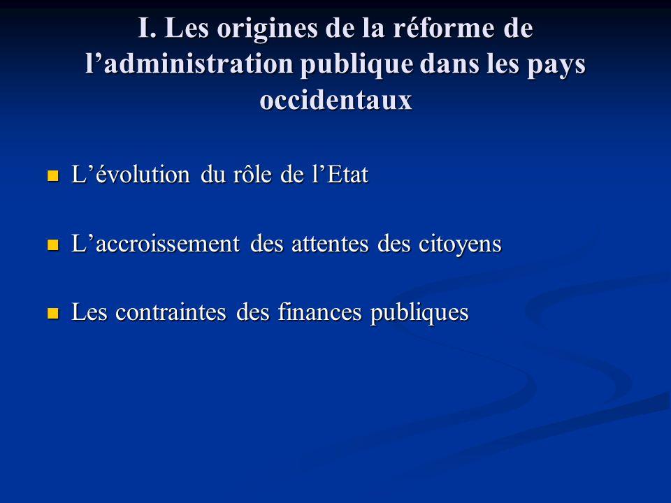 I. Les origines de la réforme de l'administration publique dans les pays occidentaux