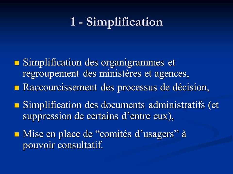 1 - Simplification Simplification des organigrammes et regroupement des ministères et agences, Raccourcissement des processus de décision,