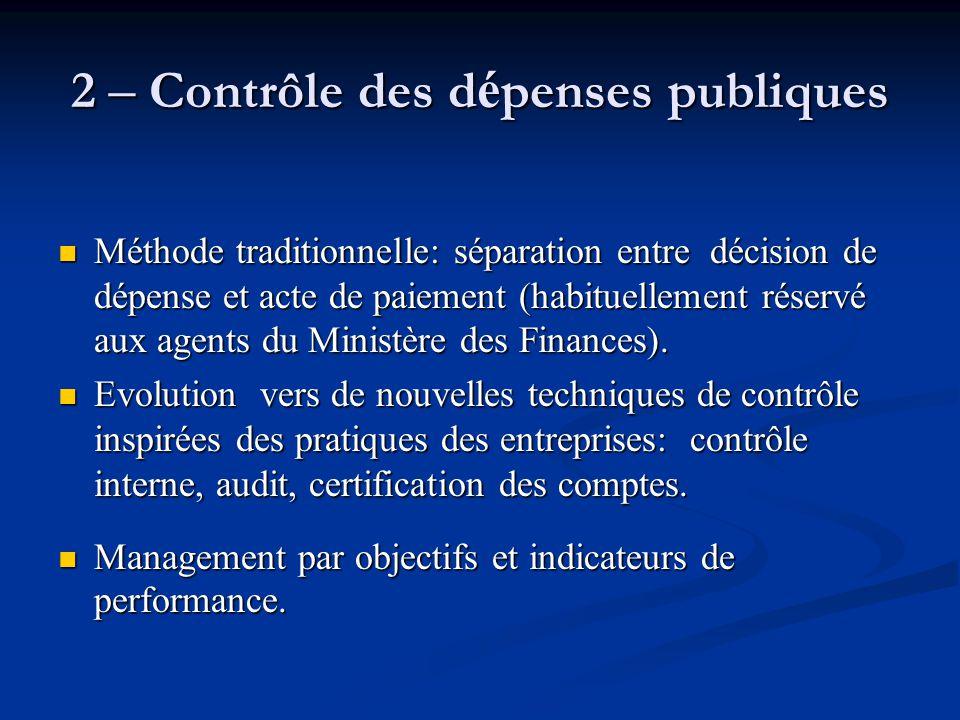 2 – Contrôle des dépenses publiques