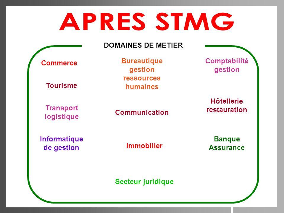 APRES STMG DOMAINES DE METIER Bureautique gestion ressources humaines