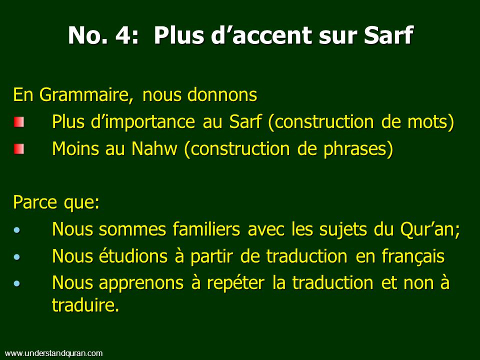 No. 4: Plus d'accent sur Sarf