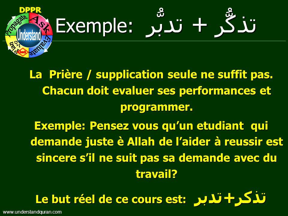 Exemple: تدبُّر + تذكُّر