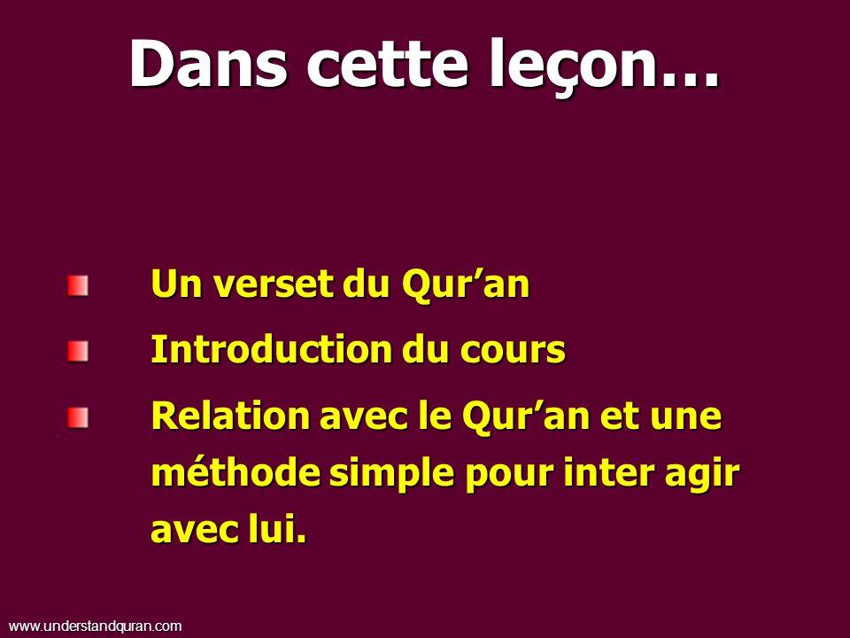 Dans cette leçon… Un verset du Qur'an Introduction du cours