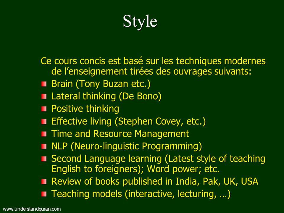 Style Ce cours concis est basé sur les techniques modernes de l'enseignement tirées des ouvrages suivants: