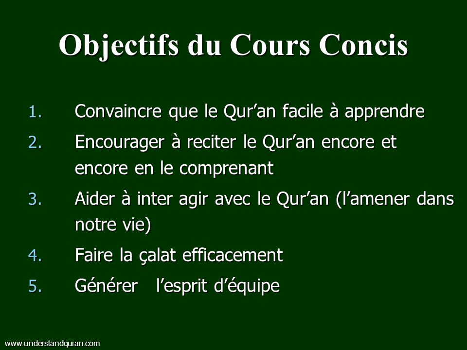 Objectifs du Cours Concis