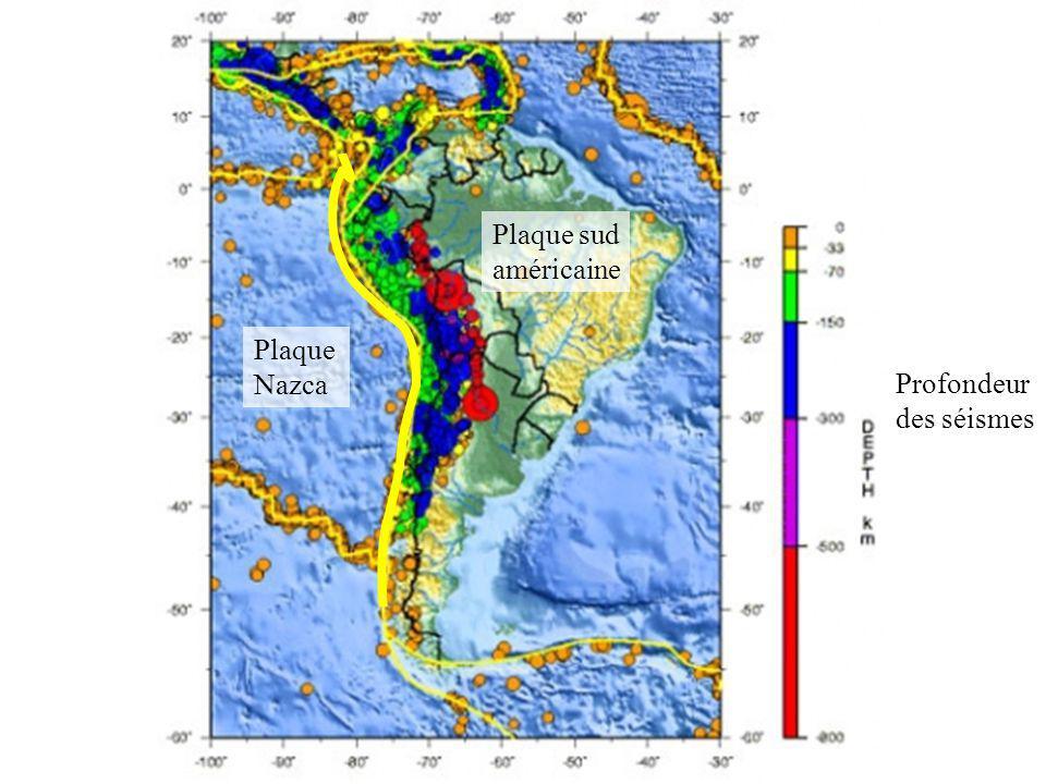 Plaque sud américaine Plaque Nazca Profondeur des séismes
