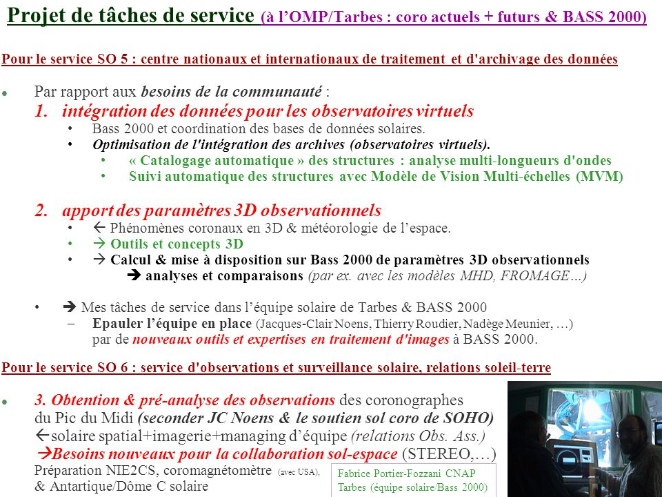 Fabrice Portier-Fozzani CNAP Tarbes (Equipe solaire/Bass2000)