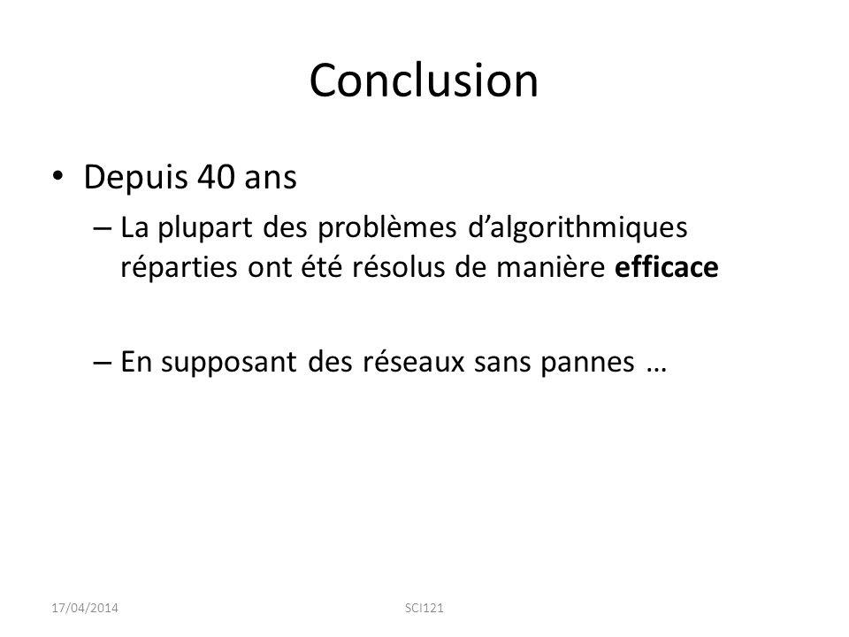 Conclusion Depuis 40 ans. La plupart des problèmes d'algorithmiques réparties ont été résolus de manière efficace.