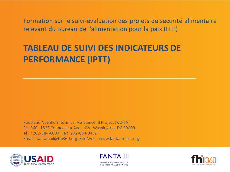 TABLEAU DE SUIVI DES INDICATEURS DE PERFORMANCE (IPTT)