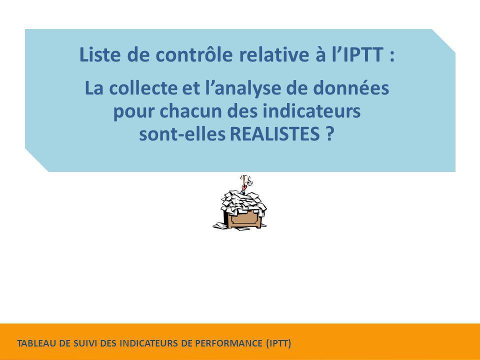 Liste de contrôle relative à l'IPTT :