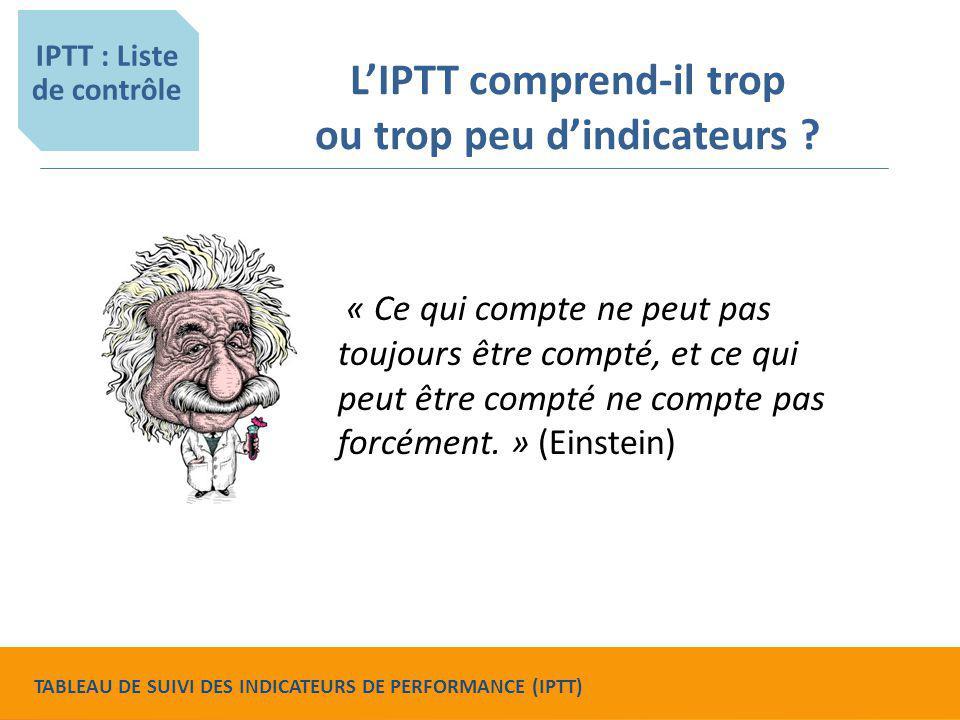 L'IPTT comprend-il trop ou trop peu d'indicateurs