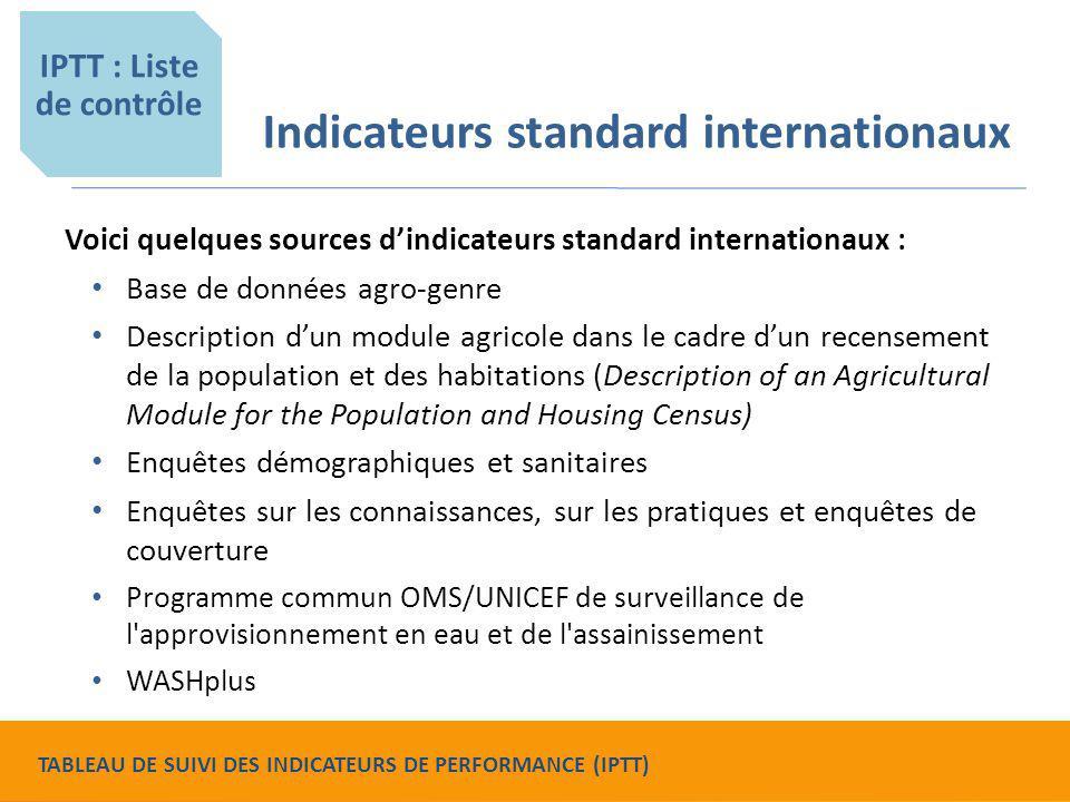 Indicateurs standard internationaux